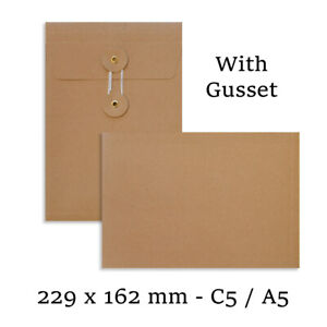C5 Size Quality String&Washer Manilla With Gusset Envelopes Button-Tie Cheap
