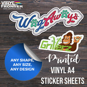 Custom Printed Full Colour Vinyl Stickers/ Labels Supplied on Handy A4 Sheets