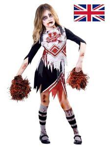 Childs Zombie Cheerleader Fancy Dress Halloween Costume High School Girls Kids