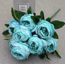 Large Peony Rose Silk Artificial Flower 10 Stems Flower Head-blue