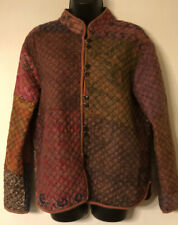 SACRED THREADS patchwork silk quilted lined light soft JACKET Size SM