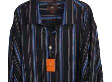 Toscano Long Sleeve Dress Shirt  Men's Sz 4XL  Blue Black Stripes MSRP $135
