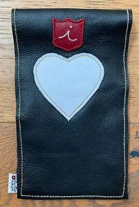 iliac Golf Yardage Book Scorecard Cover Black White Leather USA Made HEART New
