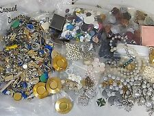 HUGE 9 LBS CRAFT LOT ULTRA CRAFT JEWELRY FINDINGS JUNK VTG BRASS ACRYLIC CLASPS