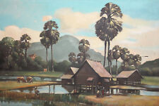 Antique large oil painting landscape country scene signed