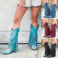 Lady Low Heel Boots Fringed Cowboy Motorcycle Boots Shoes Pointed Tassel Shoes