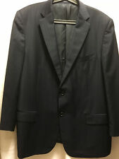 ERMENEGILDO ZEGNA Men Sport Coat Wool  Black Blue Stripe 56L Switzerland