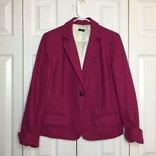 J.Crew Women's Fuchsia Herringbone Wool Blazer with Pockets Size 10
