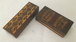 """Lot of 2 Vintage Decorative Hand-Carved Hinged Wood Boxes 8.25"""" Made In Poland"""