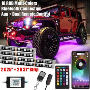 4x PCS RGB LED Lights Underglow Underbody Neon Strip bluetooth Remote Control
