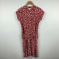 Trenery Womens Dress Size 10 Red Floral Short Sleeve Button Closure With Belt