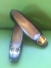 Black Ferragamo Block Heel Gold Buckle Shoes Size 8AAA