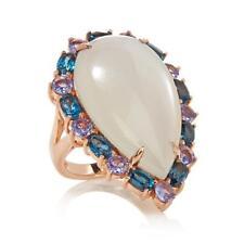 HSN Rarities Moonstone,London Blue Topaz & Tanzanite Sterling Ring Size 9