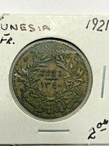 1921 Tunisia One Franc Coin #406