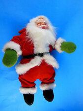 """Vintage 9"""" Santa Claus Doll velvet suit, faux fur trim Celluloid? Plastic? face"""