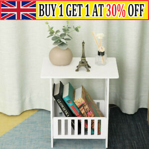 White Bedside Table Cabinet Small Side End Table Night stand Storage Organizer