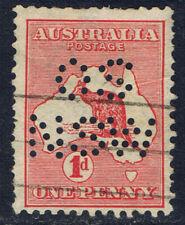 "AUSTRALIA #2(1) 1913 1 pence carmine KANGAROO PERF 11.5 X 12 PERFIN ""OS NSW"""