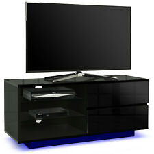 Centurion Supports Gallus Gloss Black 2 Drawer Ocean Blue LED Lights TV Stand