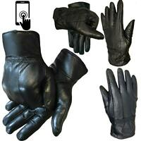 MENS TOUCH SCREEN REAL LEATHER GLOVES LINED THERMAL BLACK DRIVING WINTER GIFT