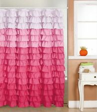 Waterfall Ruffle Fabric Shower Curtain MULTI - COLOR PINK