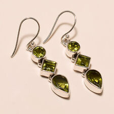 4.80 Gm Fine 925 Solid Sterling Silver Natural Peridot Earrings Gemstone i-947