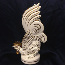 "LEFTON JAPAN 796 FIGHTING COCK ROOSTER FIGURINE 9 7/8"" WHITE & GOLD HIGHLIGHTING"