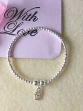 Sterling Silver Stretch Stacking Charm Bracelet Boho Noodle Bead