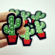 5Pcs Cactus Plant Patch for Cloth Iron on Embroidered Sew Applique Fabric Badge