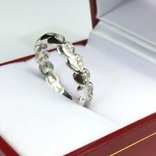 14k Solid White Gold Beautiful Heart Band Ring Genius Diamond 0.14CT, Size 6.5