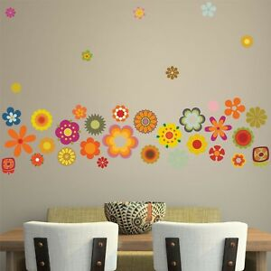 RETRO FLOWERS WALL STICKERS PACK 60s 70s vintage floral hippy decal art