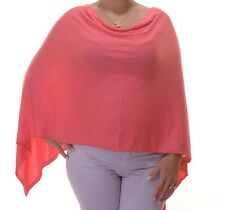 Charter Club Women's Pink Knit Hi-low Poncho Sleeves Top One Size