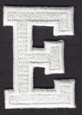 """LETTERS - WHITE BLOCK LETTER """"E"""" (1 7/8"""") - Iron On Embroidered Applique Patch"""