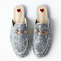 Horsebit Silver Glittered Princetown Slide Loafers Slippers Princeton