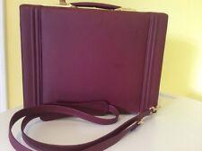 Genuine All Leather Burgundy Attaché Case / Satchel Bag