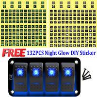 4 Gang Blue LED IP66 Marine Car DIY Toggle Switch Panel 12V 24V Universal UK NSW