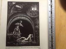 1920s xilografía impresión después de la caída por Bruno Goldschmidt: Eden, Adán y Eva