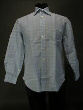 $650 KITON Linen Cotton Dress Shirt Blue Green White Plaid 16 x 34 Pearl Button