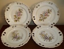 Four Antique Hand Painted Reticulated Dessert Plates