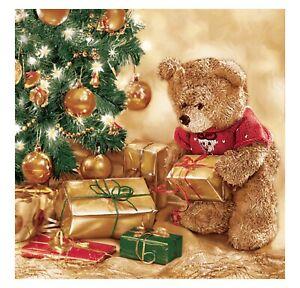 Christmas Napkins for Decoupage Paper Craft Serviettes Teddy 33x33cm 3PLY x20