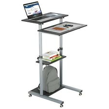 Compact Mobile Stand Up Computer Workstation Height Adjustable Presentation Cart