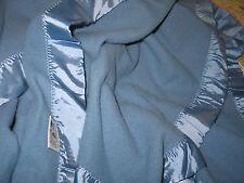 VTG Faribo Woolen Mill~Wool Blanket~Satin Binding on 4 Sides~Blue 102x84+