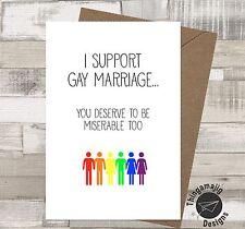 Gay Fidanzamento Matrimonio schede dello stesso sesso Comedy Funny Celia congratulazioni / FI