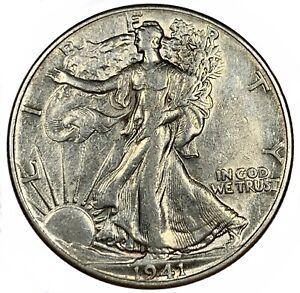 1941 United States Silver Walking Liberty Half Dollar - AU