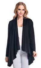 Winter Coats for Women Stretchy Waterfall Blazer Jersey Cardigan Top Black 14