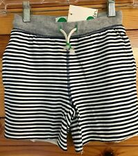 NWT Mini Boden Slub Jersey Shorts Boys Beacon Blue/Ivory Striped Drawstring 5Y