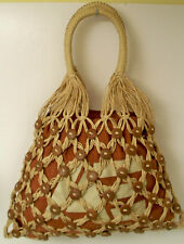 Hobo Bag 100% Paper  American Eagle Rust Brown Natural Wood Buttons Exc Preowned