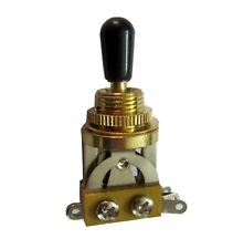 3 WAY Gold colour TOGGLE SWITCH for GIBSON Les Paul BLACK Cap - UK seller