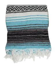 Authentic Mexican Falsa Blanket Turquoise Serape X Throw Yoga Woven Saltillo