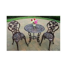 Patio Furniture Set Pool Balcony Deck Bistro 3pc Outdoor Table 2 Chairs Rose Bar