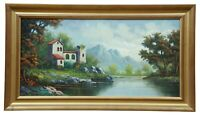 Spanish Oil Painting on Board Countryside Landscape River Mountains Signed 27""